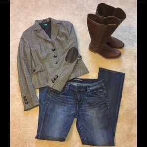 🍁 Benetton Wool Blend Blazer (Italian)Brown Plaid